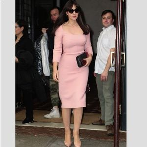 $2400 Dolce&Gabbana Barbie Pink Midi Wool Dress